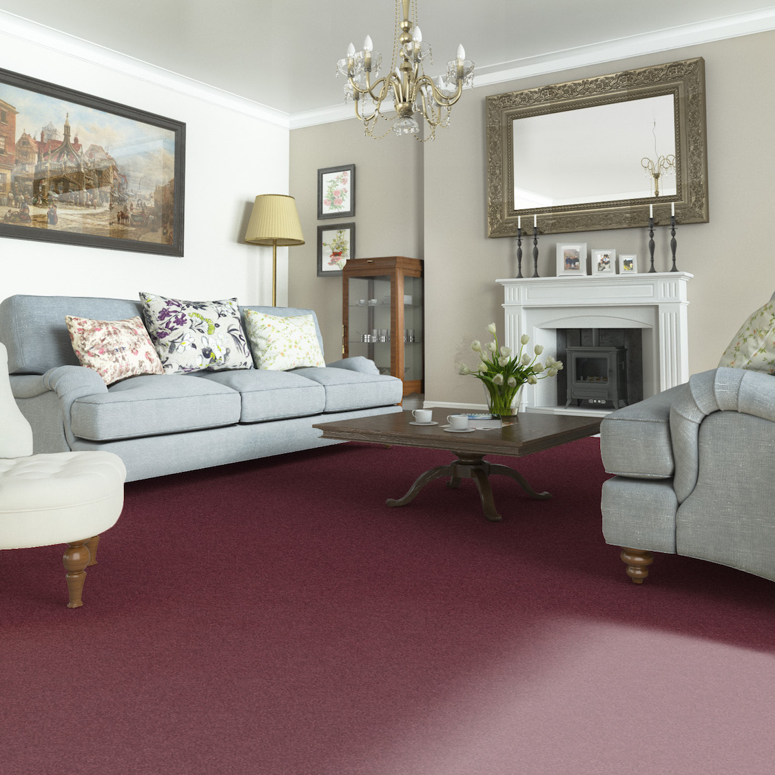 Axminster Carpets Devonia Plains in Berry Burst, perfect for this Victorian lounge