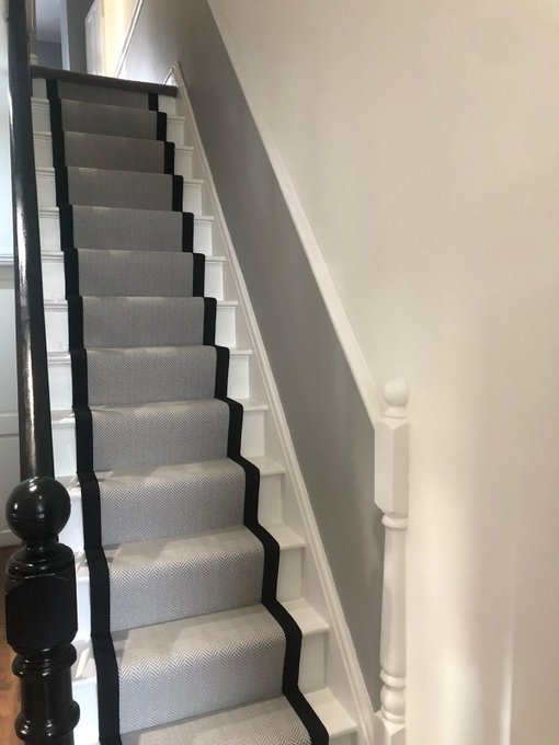 Flooring 4 You Cheshire installed this Alternative Flooring Wool Iconic Fine Herringbone stair runner n colour Coburn