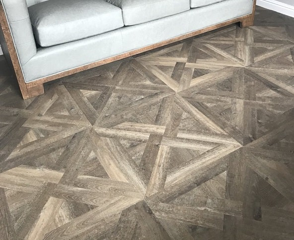 Flooring 4 You Ltd installed Amtico Signature Aged Oak parquet to a French Weave pattern at a home in Cheshire