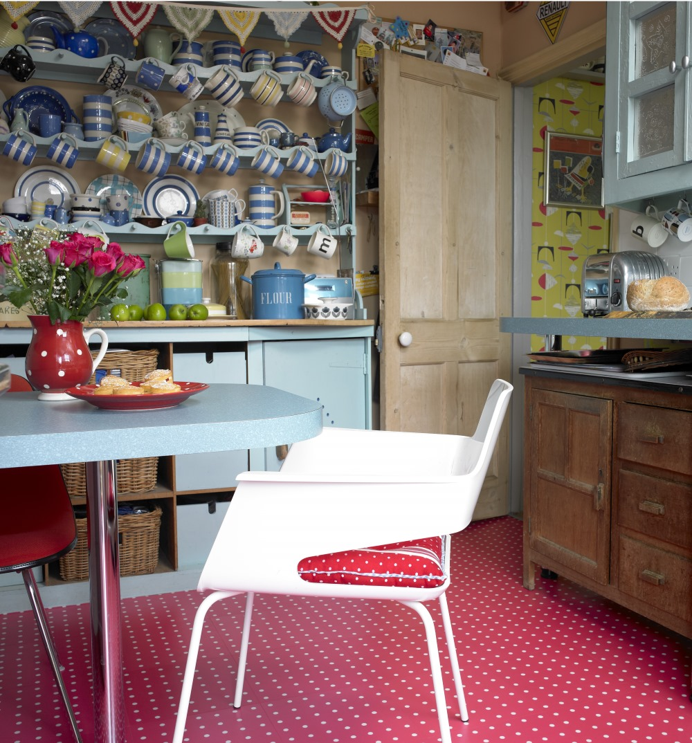 Spot Red by Cath Kidston in the Harvey Maria luxury flooring Designer Collection