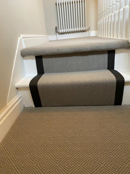 Fibre Flooring stair runner and Hugh Mackay Quintessential Twist carpet installed by Flooring 4 You Ltd in Cheshire
