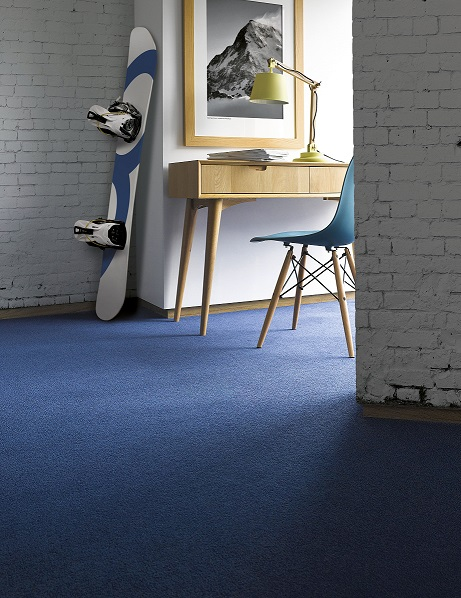 There S No Doubting The Intensity Of This Blue Carpet From Adams Carpets Teamed With Contemporary White Walls And Light Natural Scandinavian Inspired