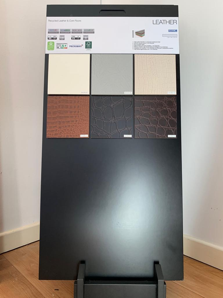 The Granorte leather & cork floor display stand at Flooring 4 You Ltd in Knutsford