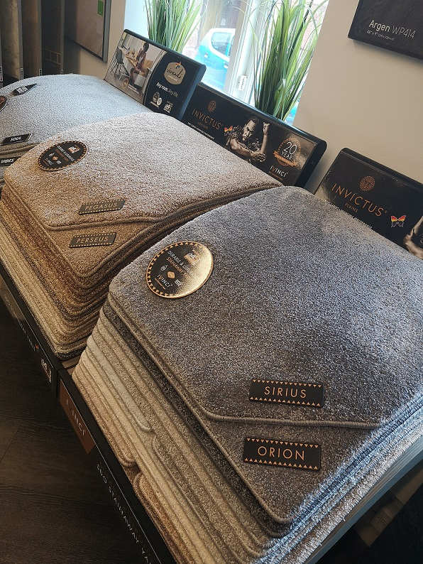The Invictus Plains carpet stands at our Knutsford showroom in Cheshire