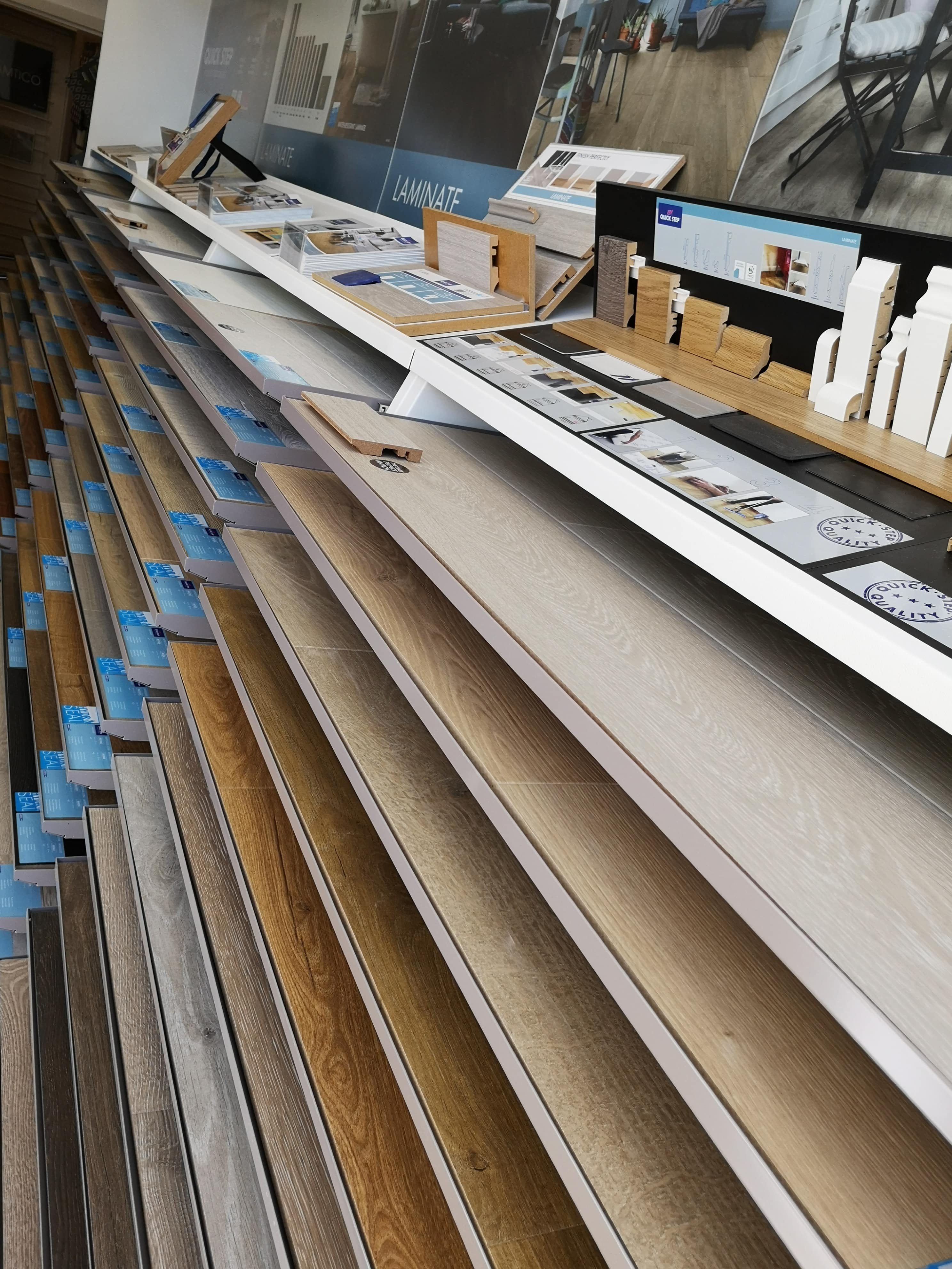 Quick-Step laminate flooring display stands at the Flooring 4 You showroom in Bowdon