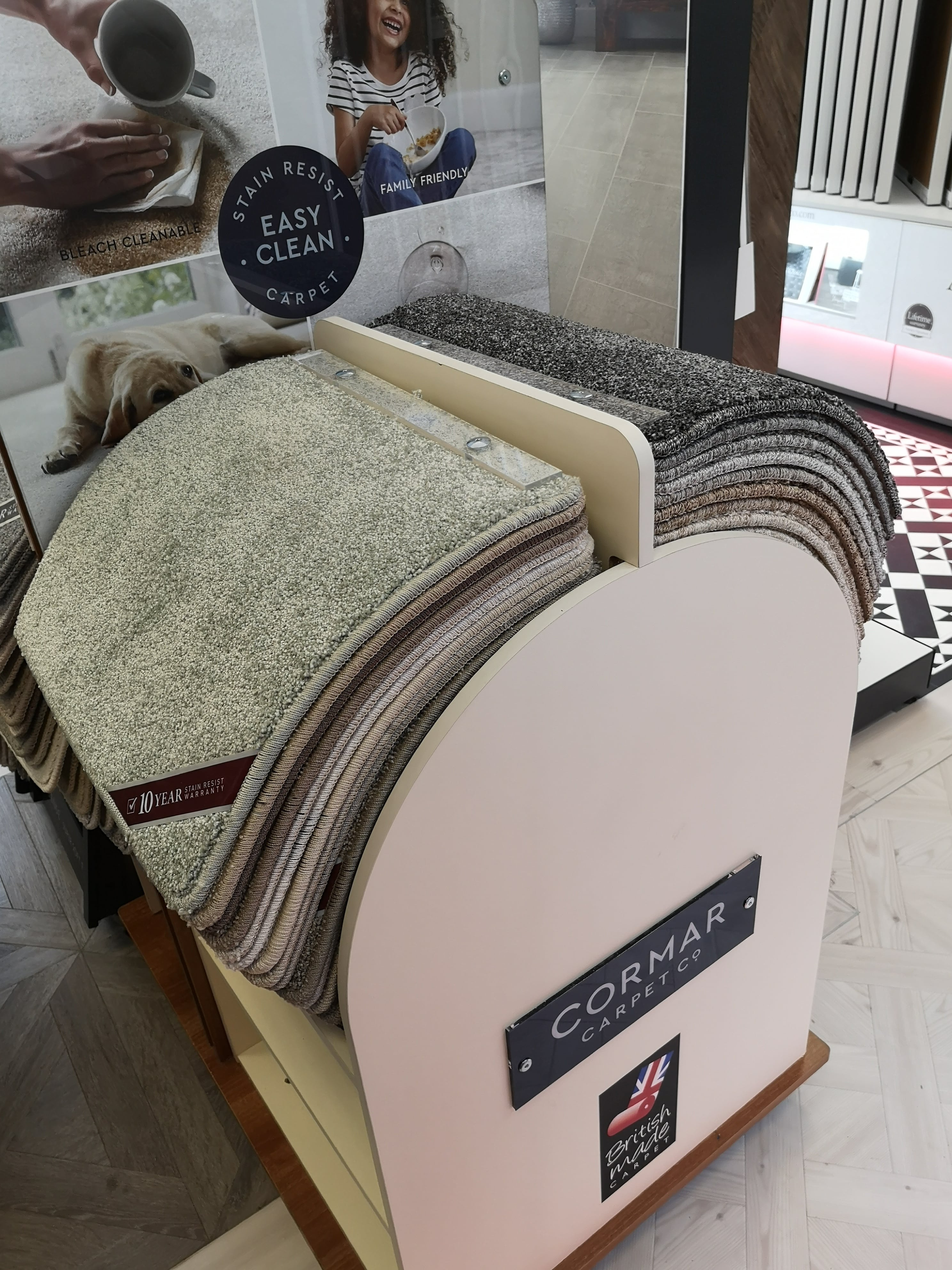 The new Cormar Carpets easy clean carpets display stand at Flooring 4 You Bowdon showroom