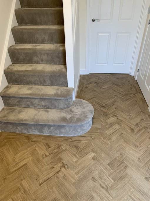 ITC Carpet and Amtico parquet herringbone installed in Warrington by Flooring 4 You Ltd