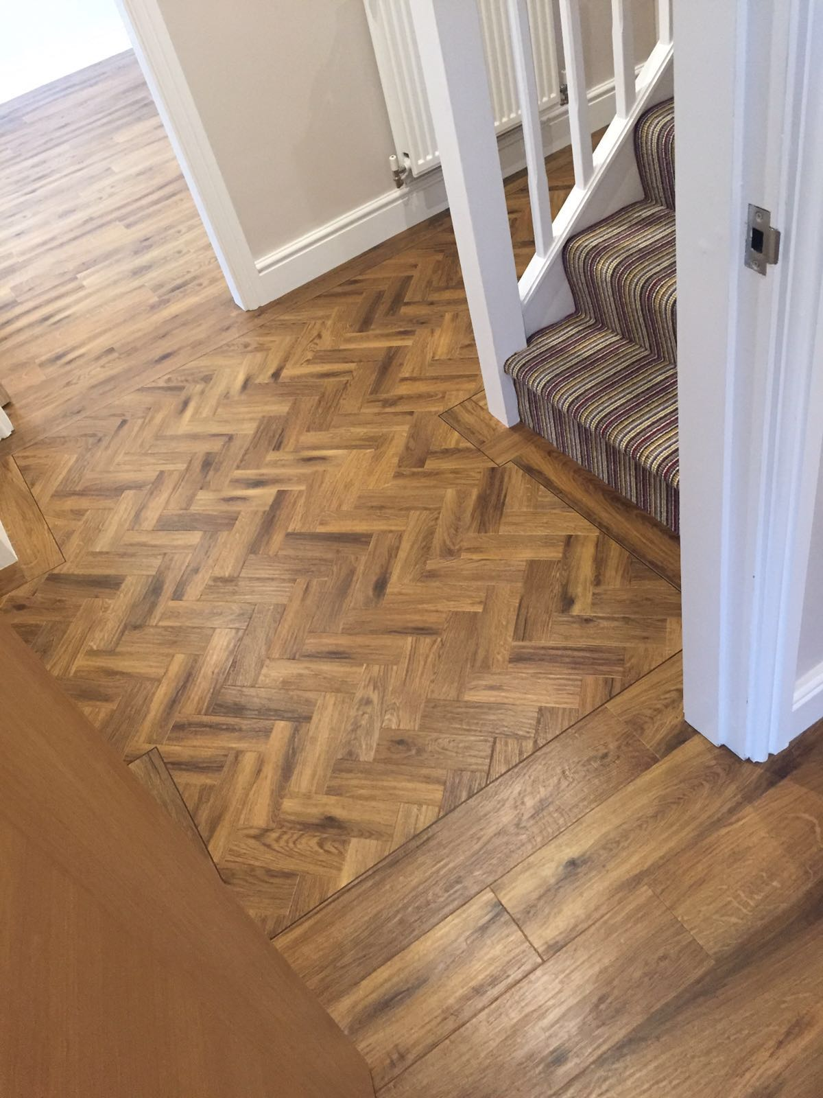 Showing Karndean Art Select Ap02 Auburn Oak Parquet And Plank Combination We Installed To A Hallway In Knutsford Did The Carpet On Stairs Too