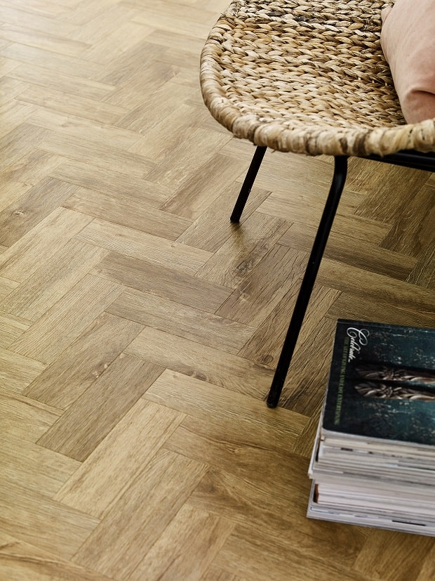 Amtico Form in Rural Oak parquet laying pattern ins available from Floorinng 4 You Ltd