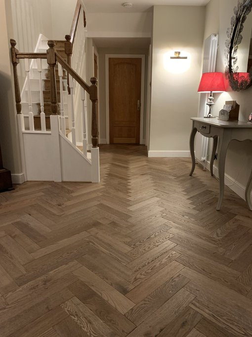 Flooring 4 You installed Ted Todd Husk Herringbone in the Warehouse collection at a home in Cheshire