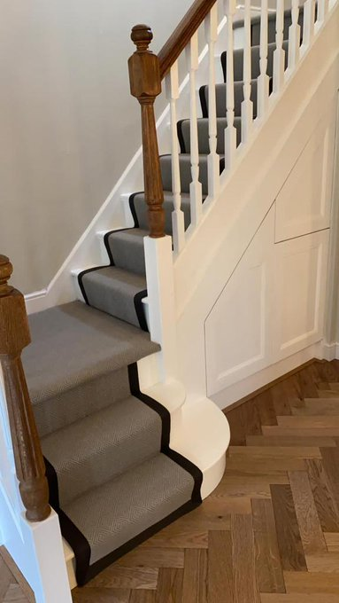 Flooring 4 You installations in Cheshire - Ted Todd Husk herringbone and Fibre Flooring stair runner