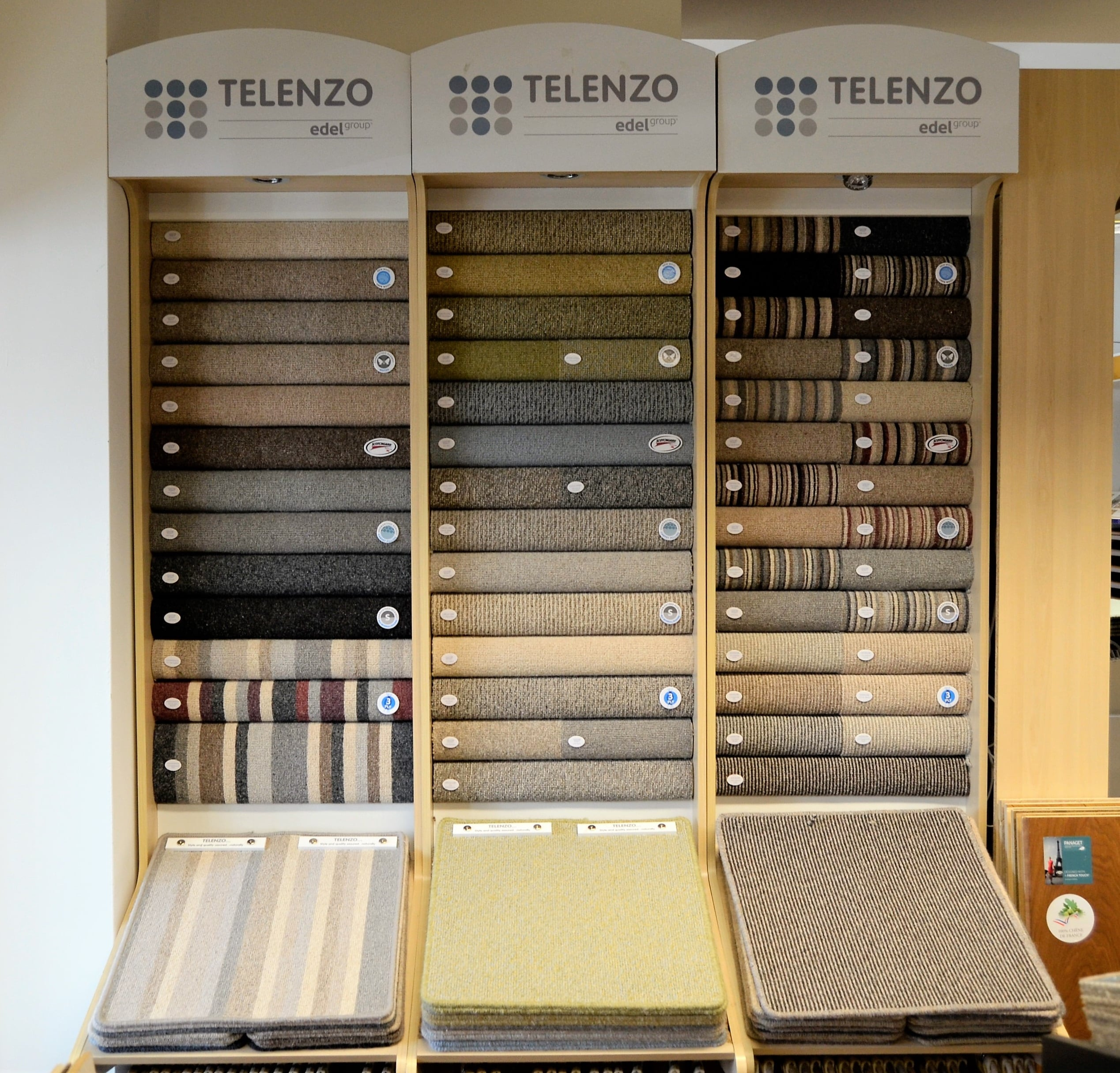 Edel Carpets display stand at Flooring 4 You Ltd in Knutsford